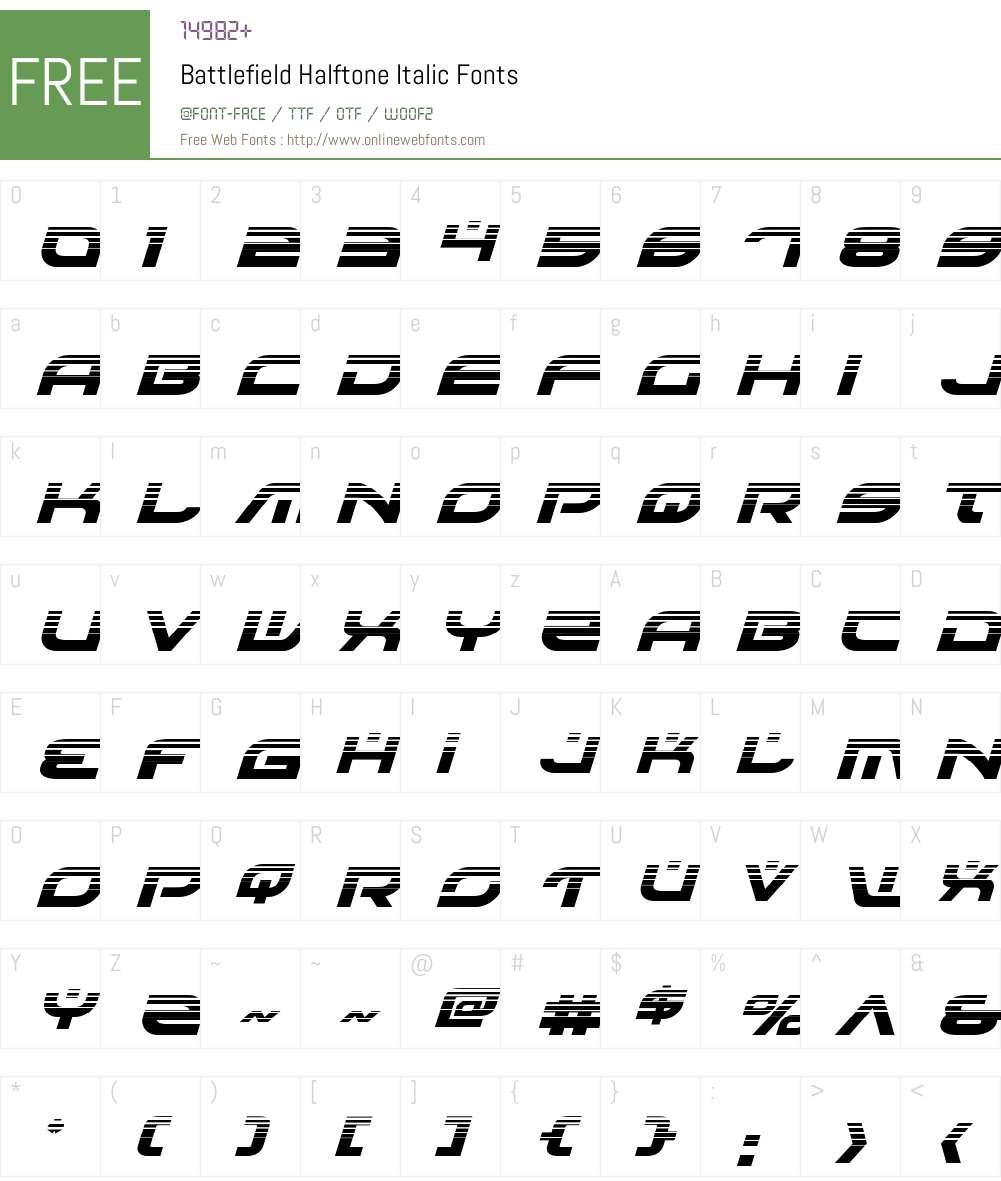 Battlefield Halftone Italic Font Screenshots