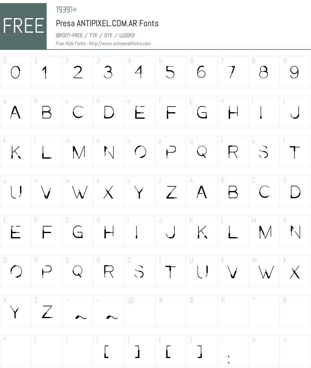 Presa ANTIPIXEL.COM.AR Font Screenshots