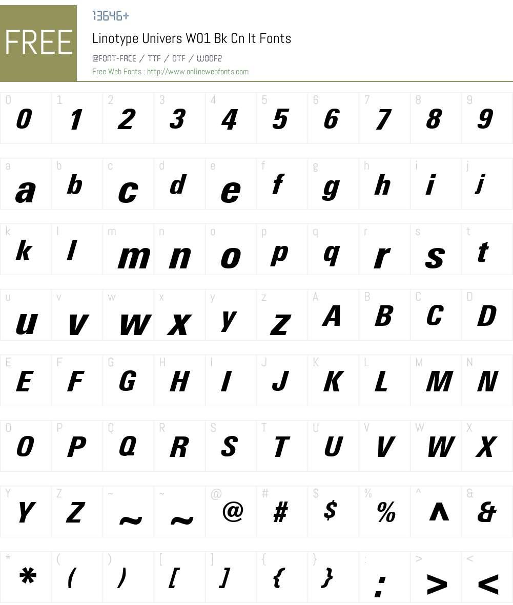 LinotypeUniversW01-BkCnIt Font Screenshots