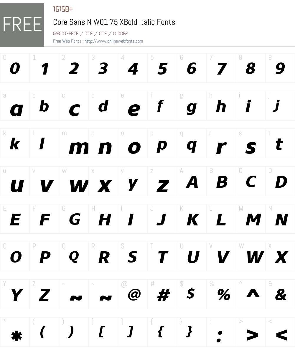 CoreSansNW01-75XBoldItalic Font Screenshots