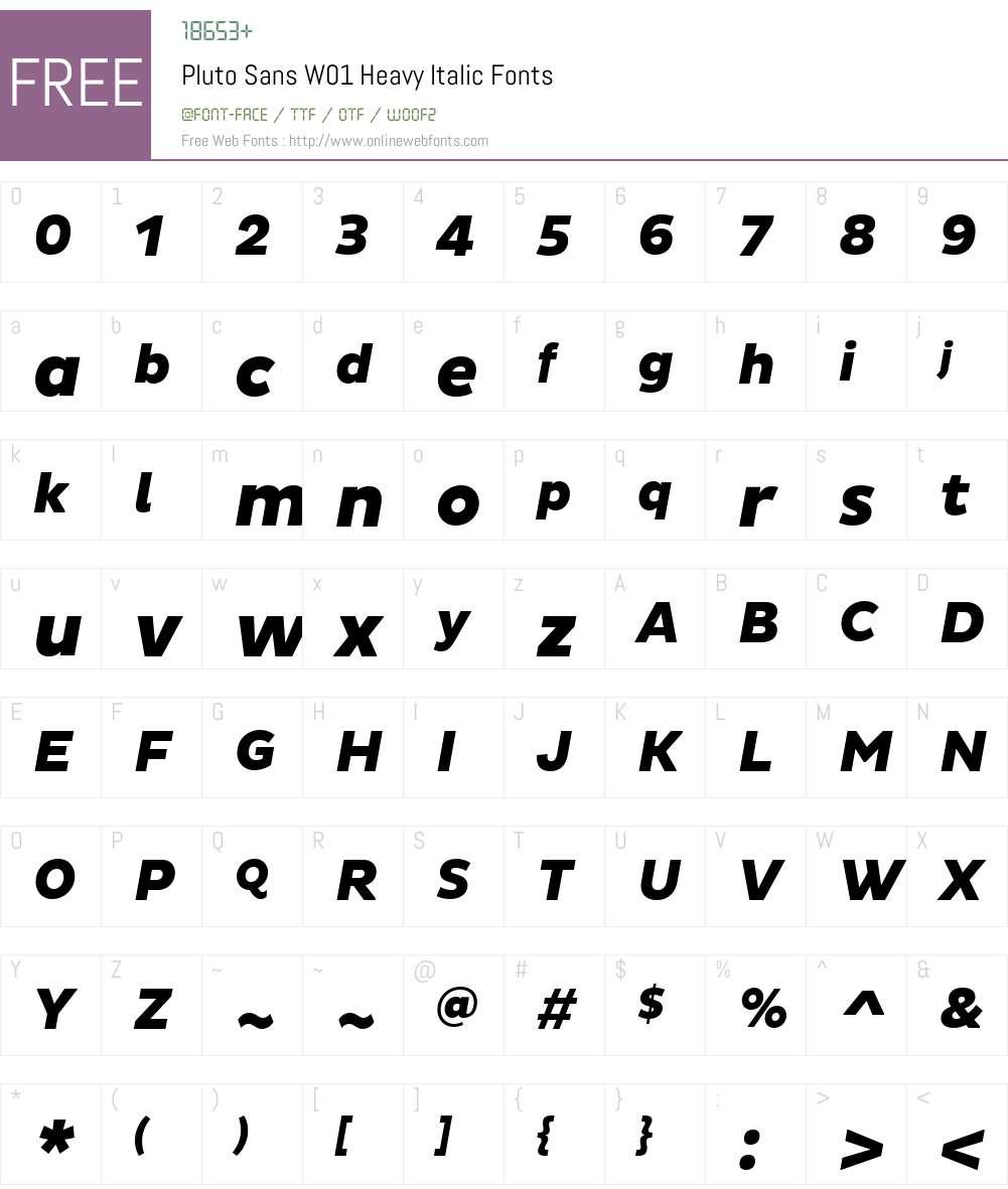 PlutoSansW01-HeavyItalic Font Screenshots