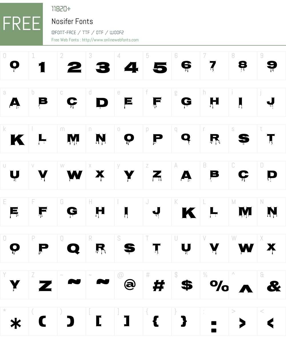 Nosifer Font Screenshots