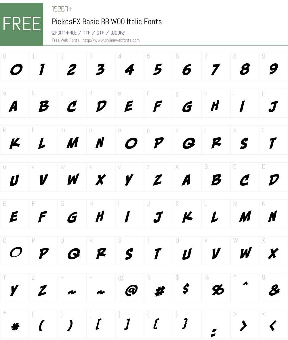 PiekosFXBasicBBW00-Italic Font Screenshots
