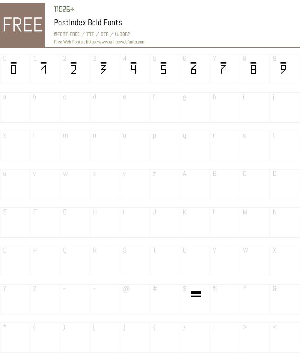 PostIndex Font Screenshots