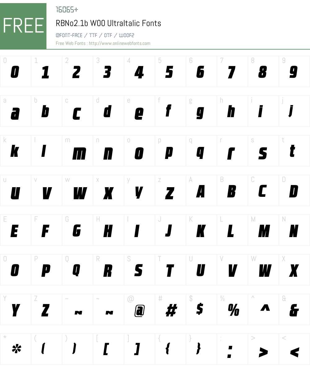 RBNo2.1bW00-UltraItalic Font Screenshots