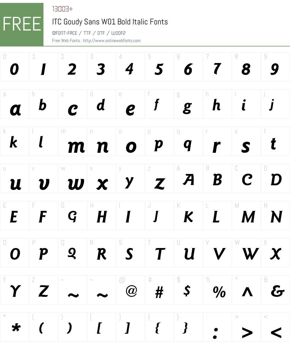 ITCGoudySansW01-BoldItalic Font Screenshots