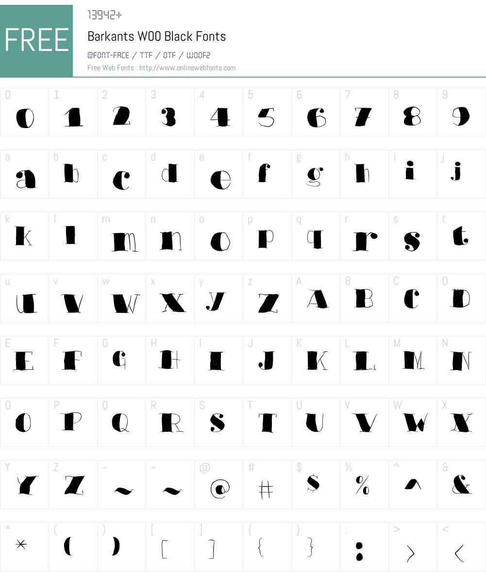 BarkantsW00-Black Font Screenshots