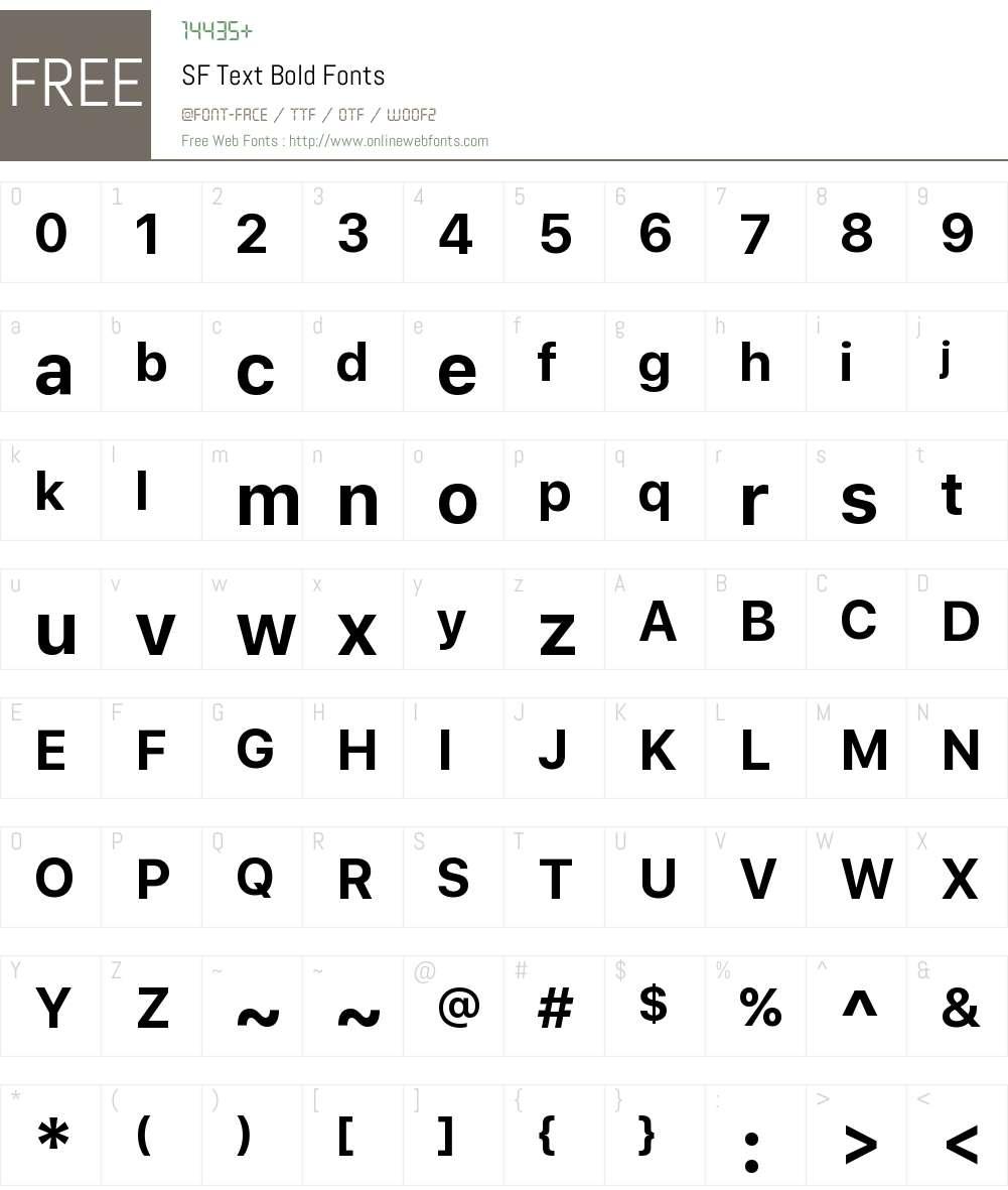 SF Text Font Screenshots