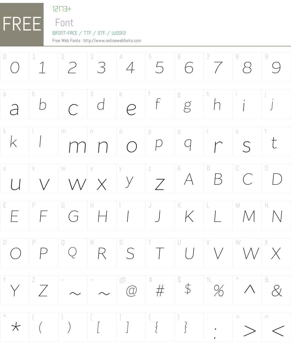 FlatSans-ExtraLightItalic Font Screenshots