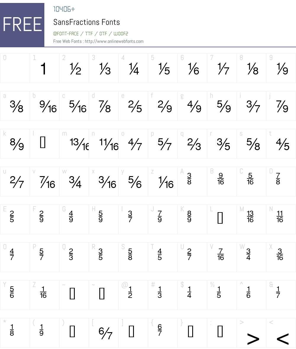 SansFractions Font Screenshots