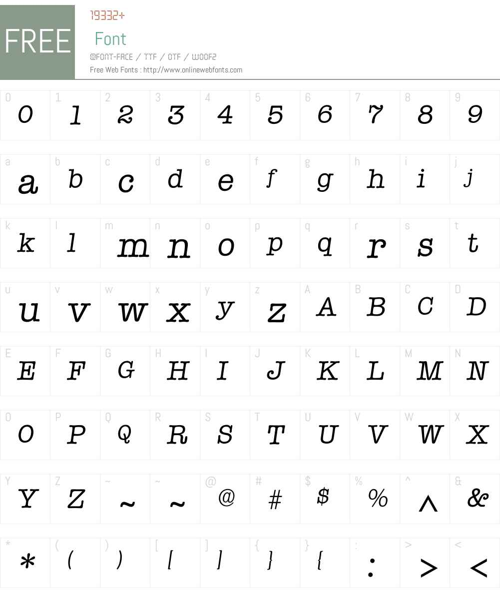 Itypewriter Font Screenshots