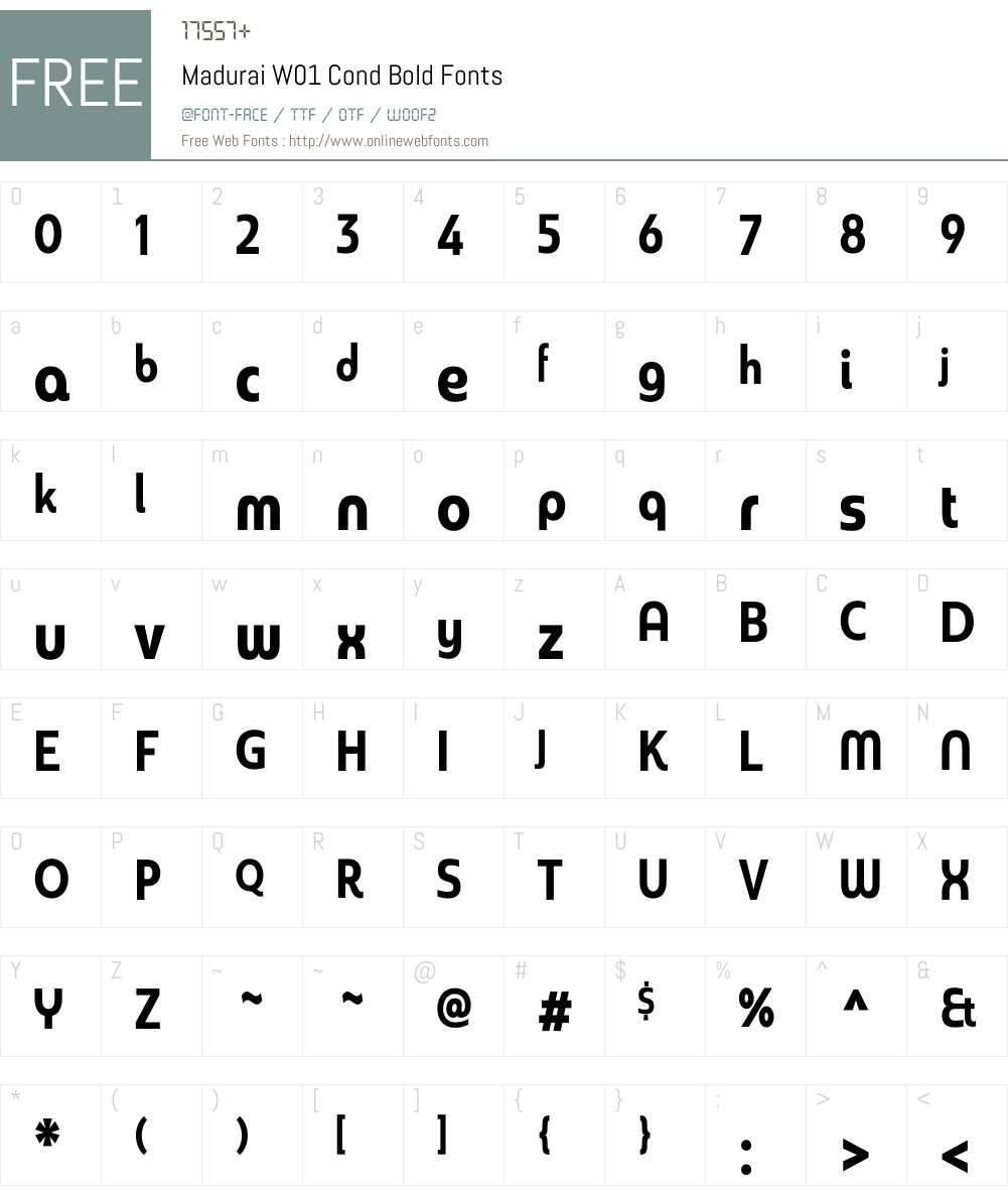 MaduraiW01-CondBold Font Screenshots