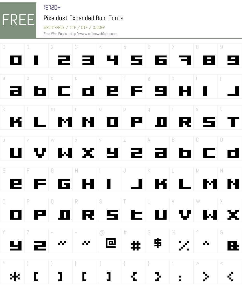 Pixeldust Expanded Font Screenshots