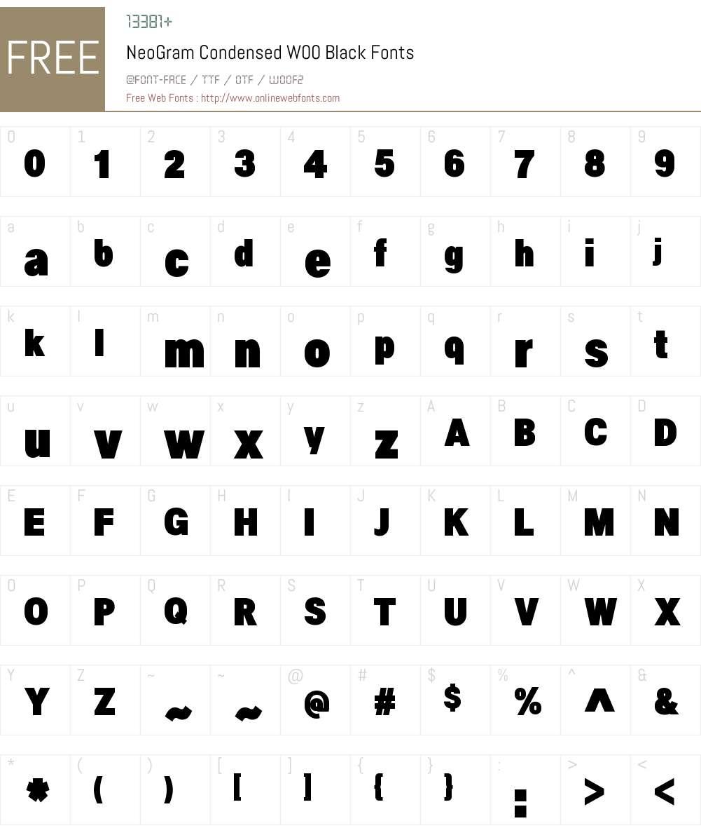 NeoGramCondensedW00-Black Font Screenshots