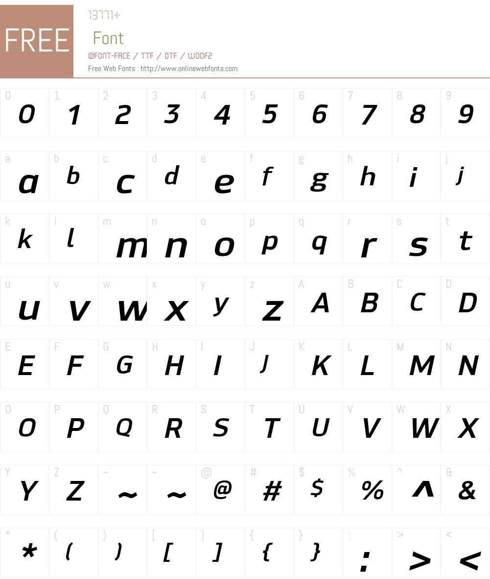 HackmanW00-BoldItalic Font Screenshots