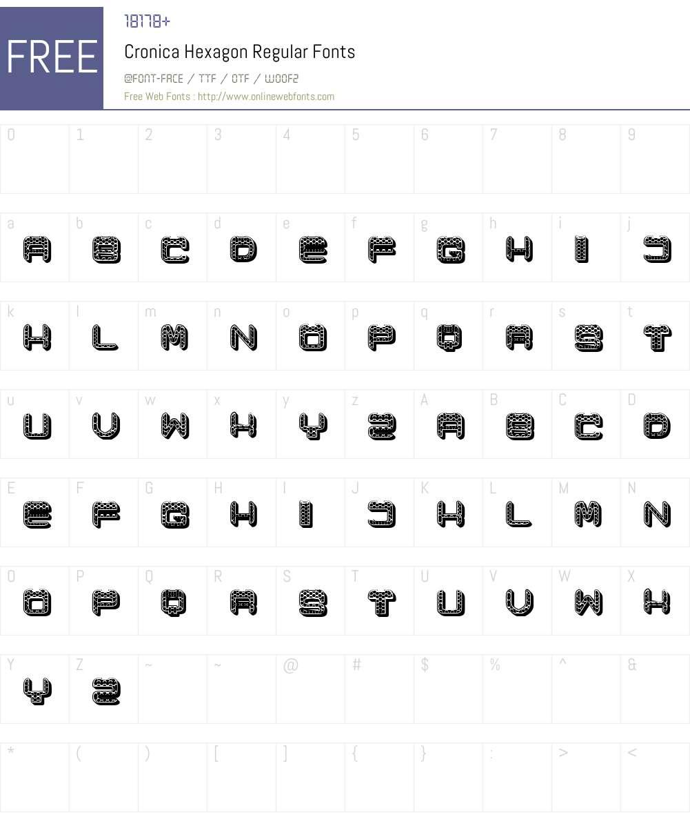 Cronica Hexagon Font Screenshots