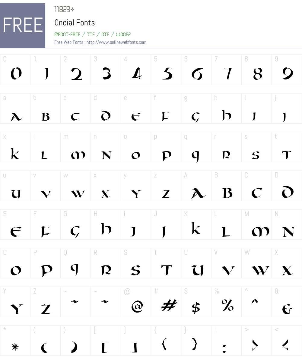 Oncial Font Screenshots