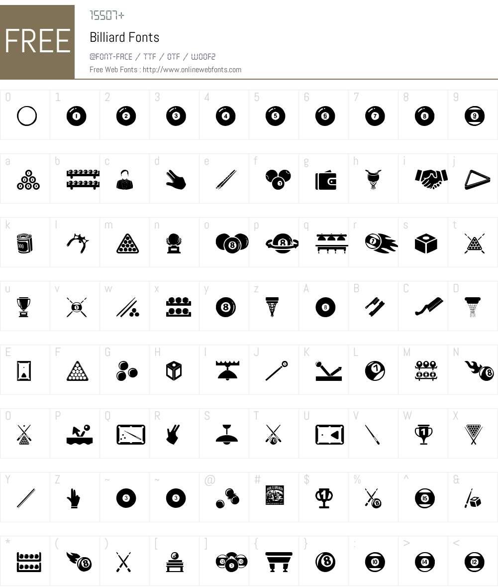 Billiard Font Screenshots