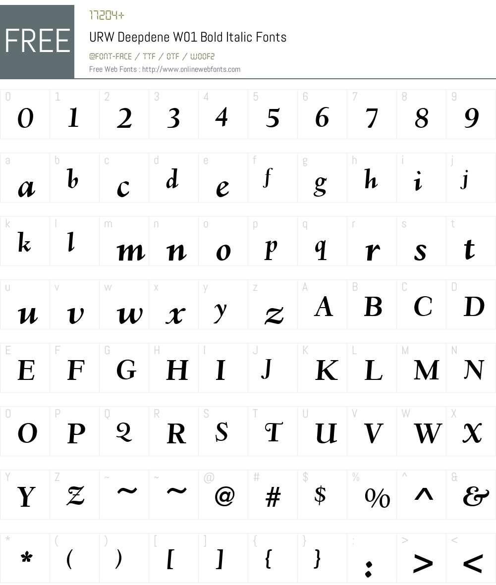 URWDeepdeneW01-BoldItalic Font Screenshots