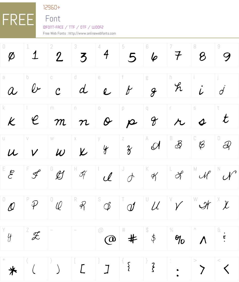 KGD Lena Script Font Screenshots