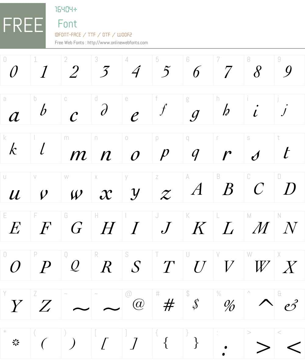 Engravers' Oldstyle 205 Font Screenshots