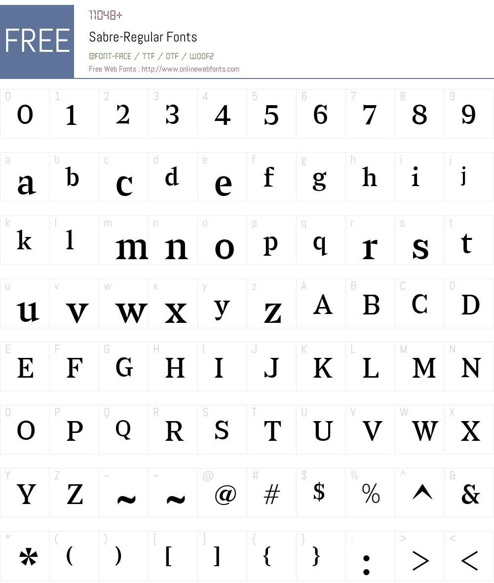 Sabre-Regular Font Screenshots
