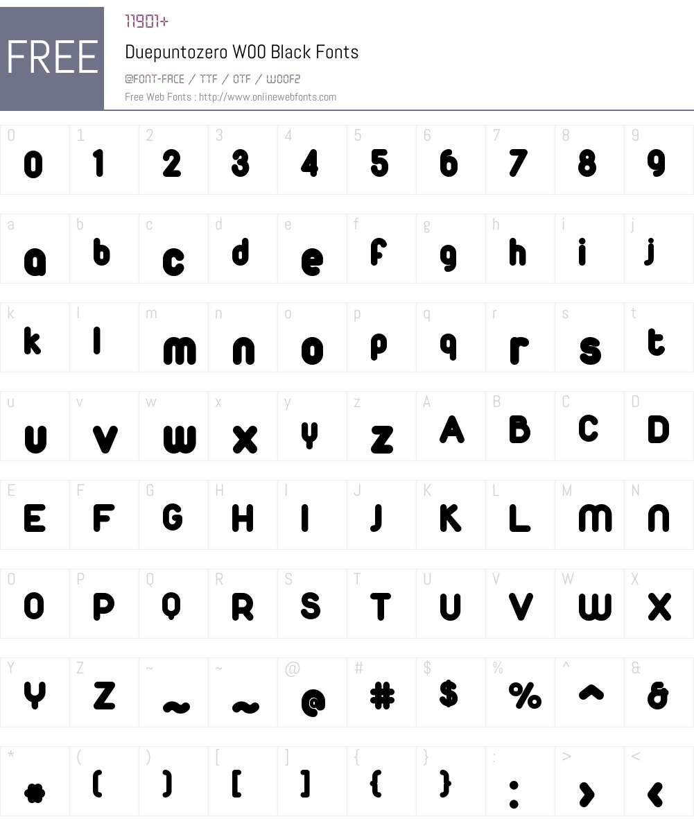 DuepuntozeroW00-Black Font Screenshots