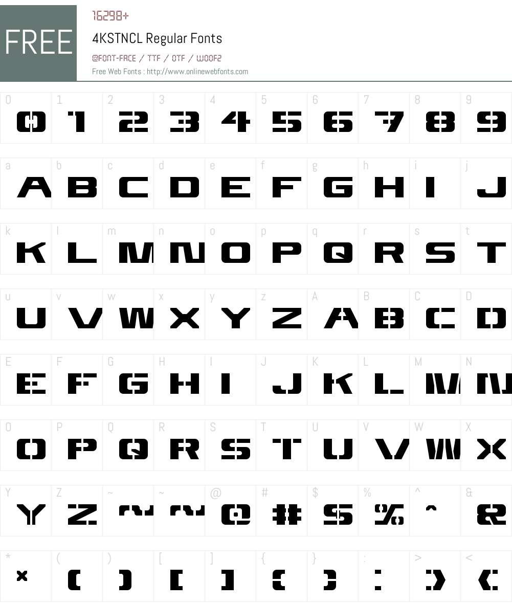 4KSTNCL Font Screenshots