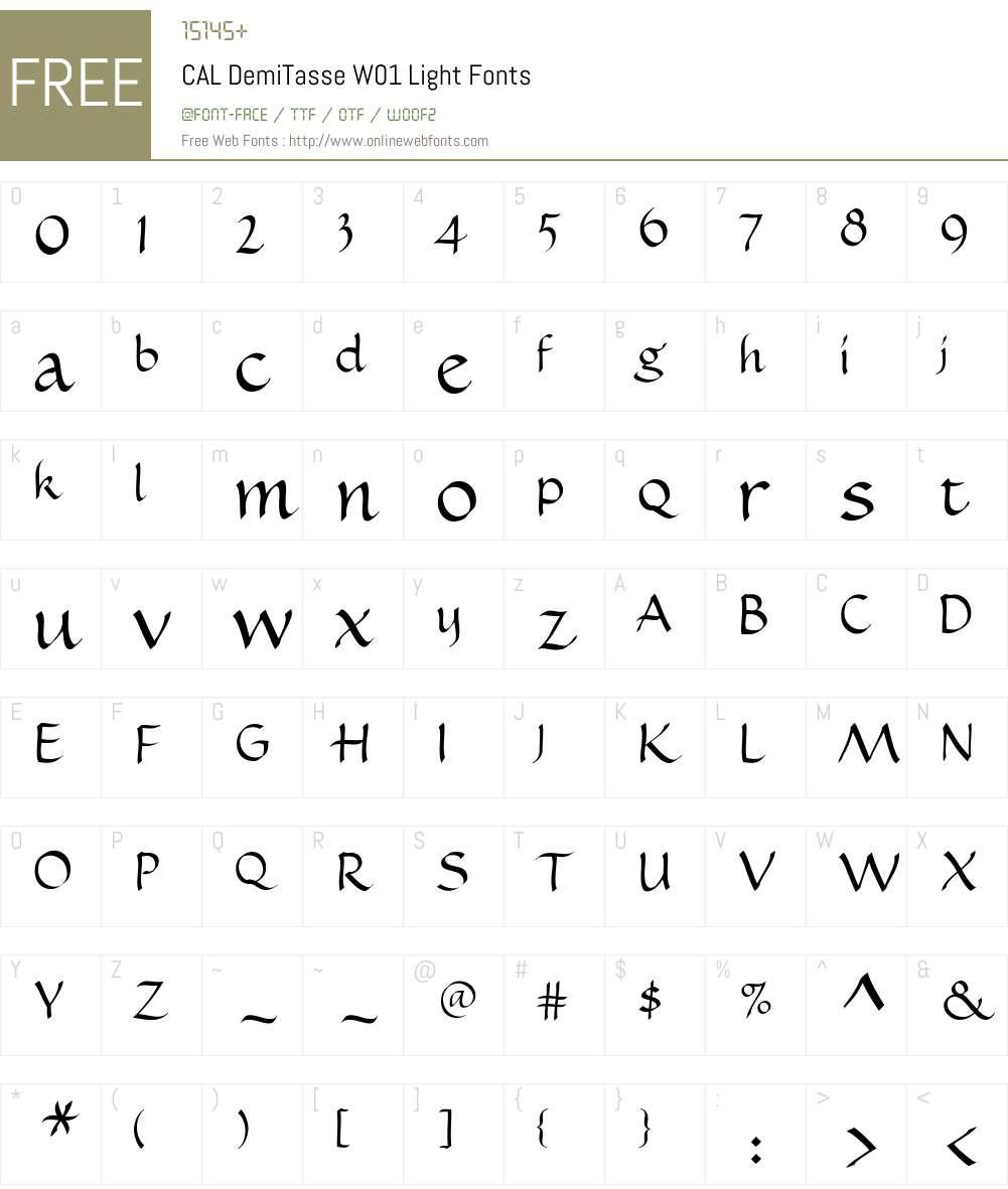 CALDemiTasseW01-Light Font Screenshots
