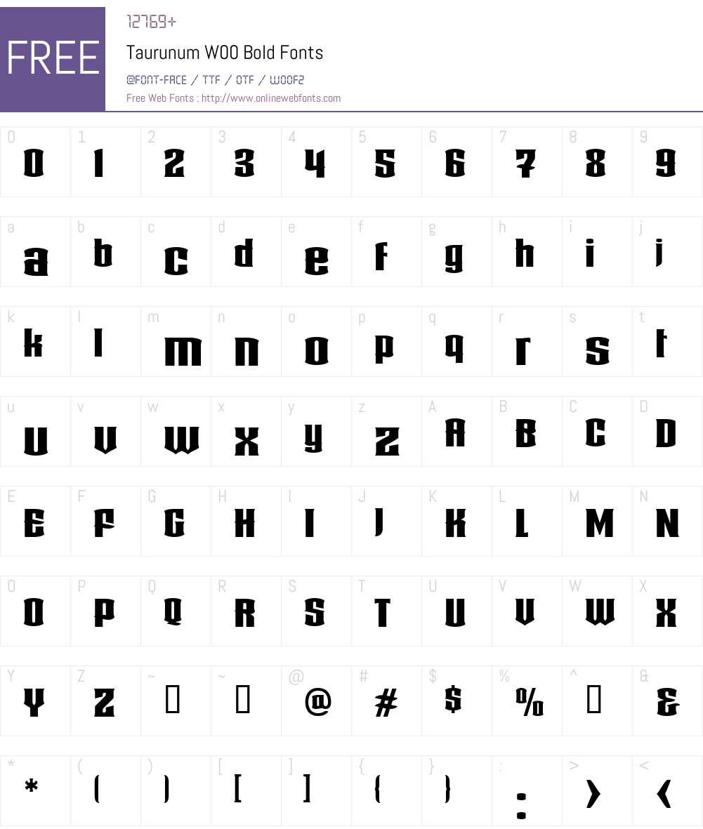 TaurunumW00-Bold Font Screenshots