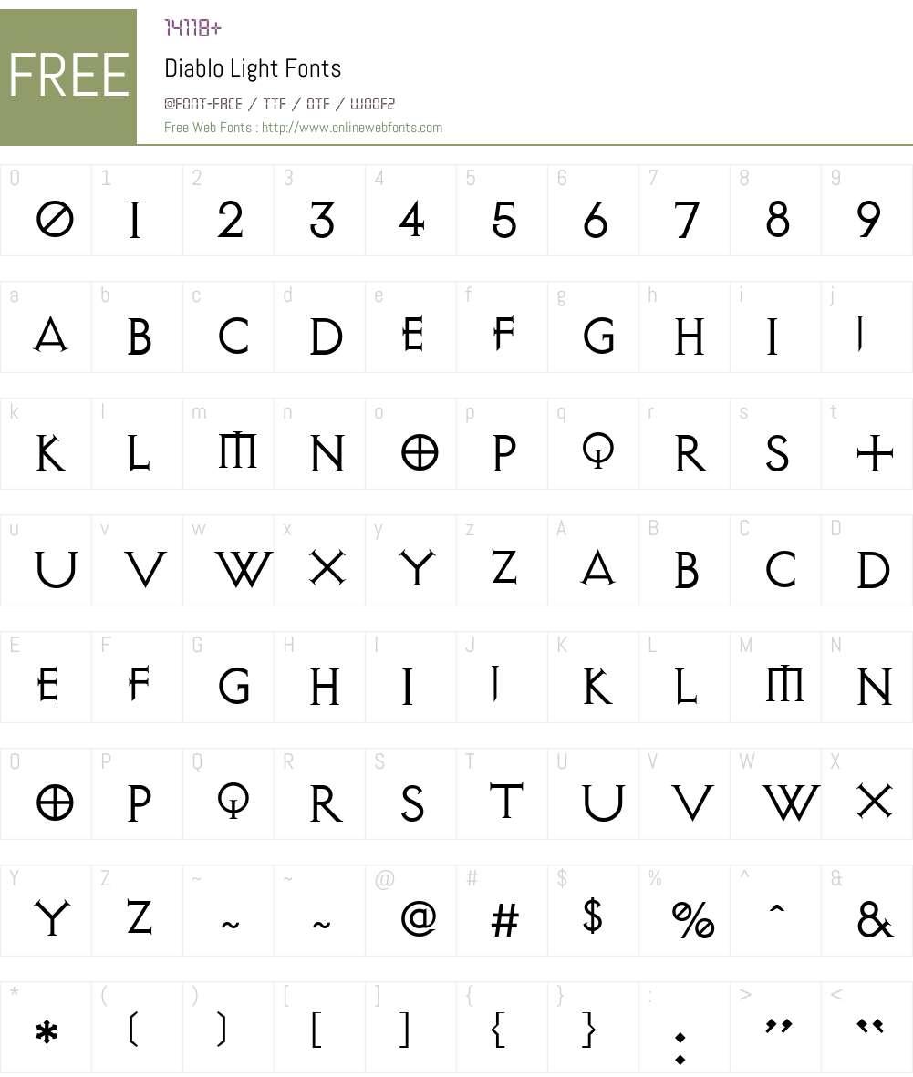 Diablo Font Screenshots