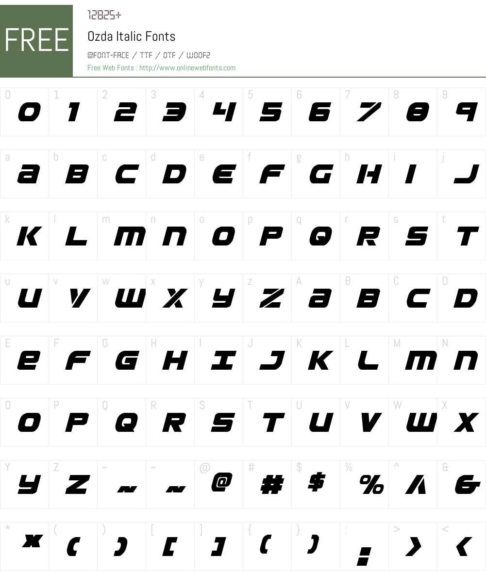 Ozda Italic Font Screenshots