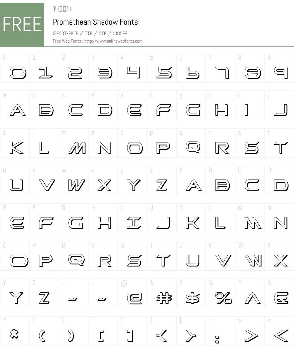 Promethean Shadow Font Screenshots