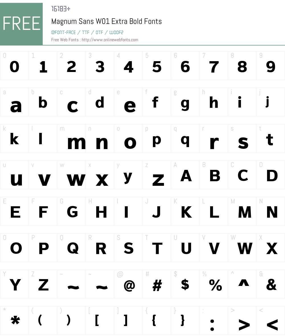 MagnumSansW01-ExtraBold Font Screenshots