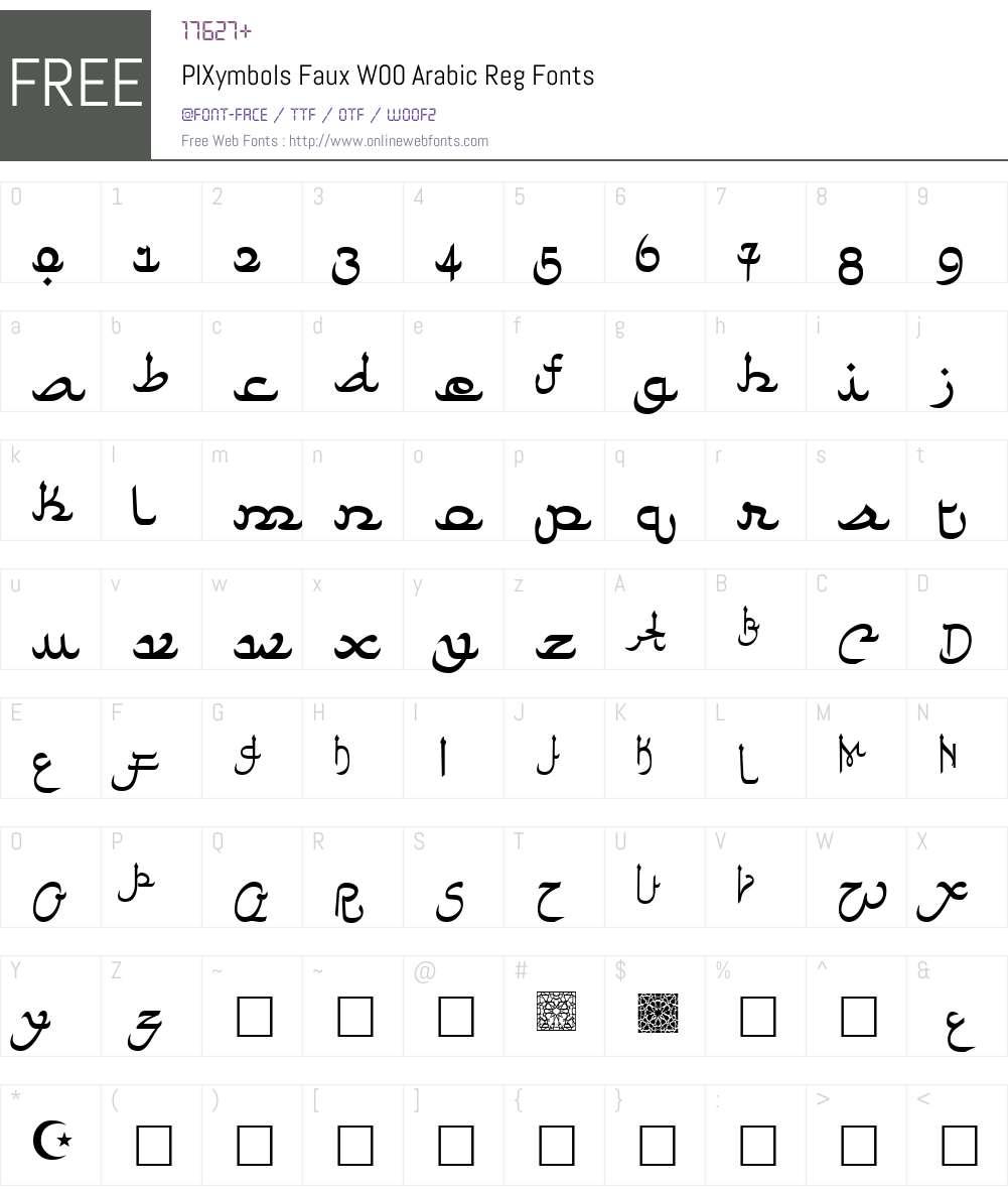 PIXymbolsFauxW00-ArabicReg Font Screenshots
