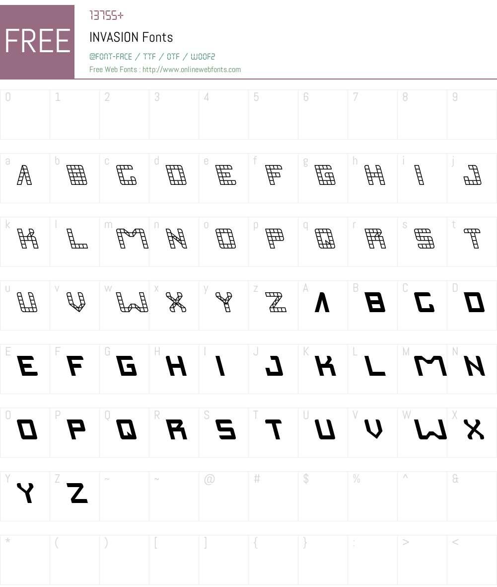 INVASION Font Screenshots