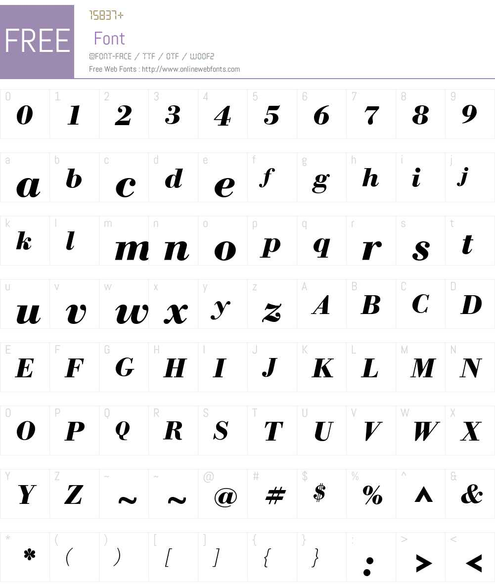 WTCOurBodoniW01-BoldItalic Font Screenshots