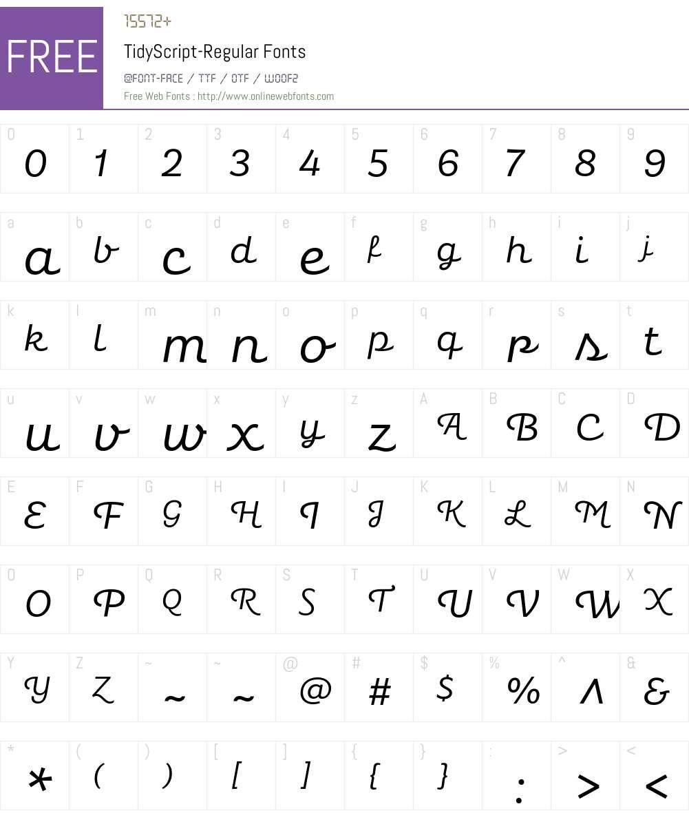 Tidy Script Font Screenshots