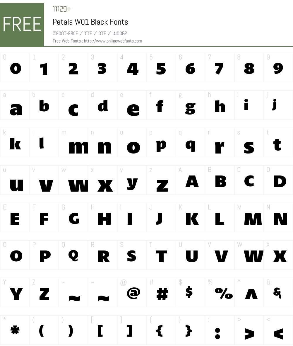 PetalaW01-Black Font Screenshots
