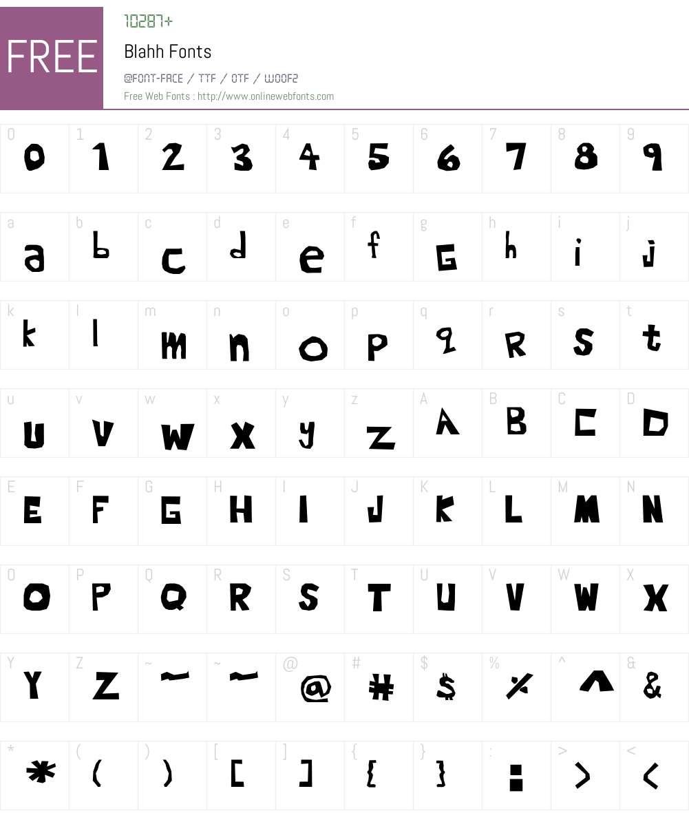 Blahh Font Screenshots