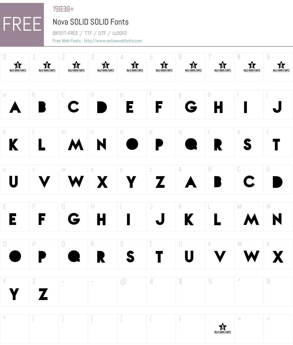 Nova SOLID Font Screenshots