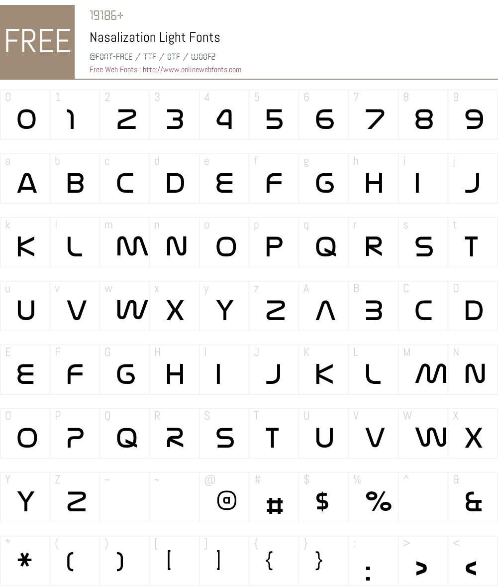Nasalization Light Font Screenshots