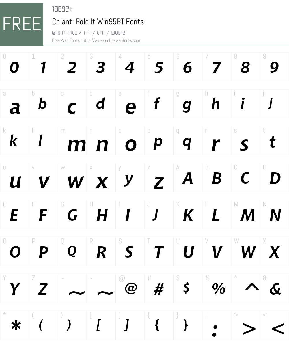 Chianti BdIt Win95BT Font Screenshots