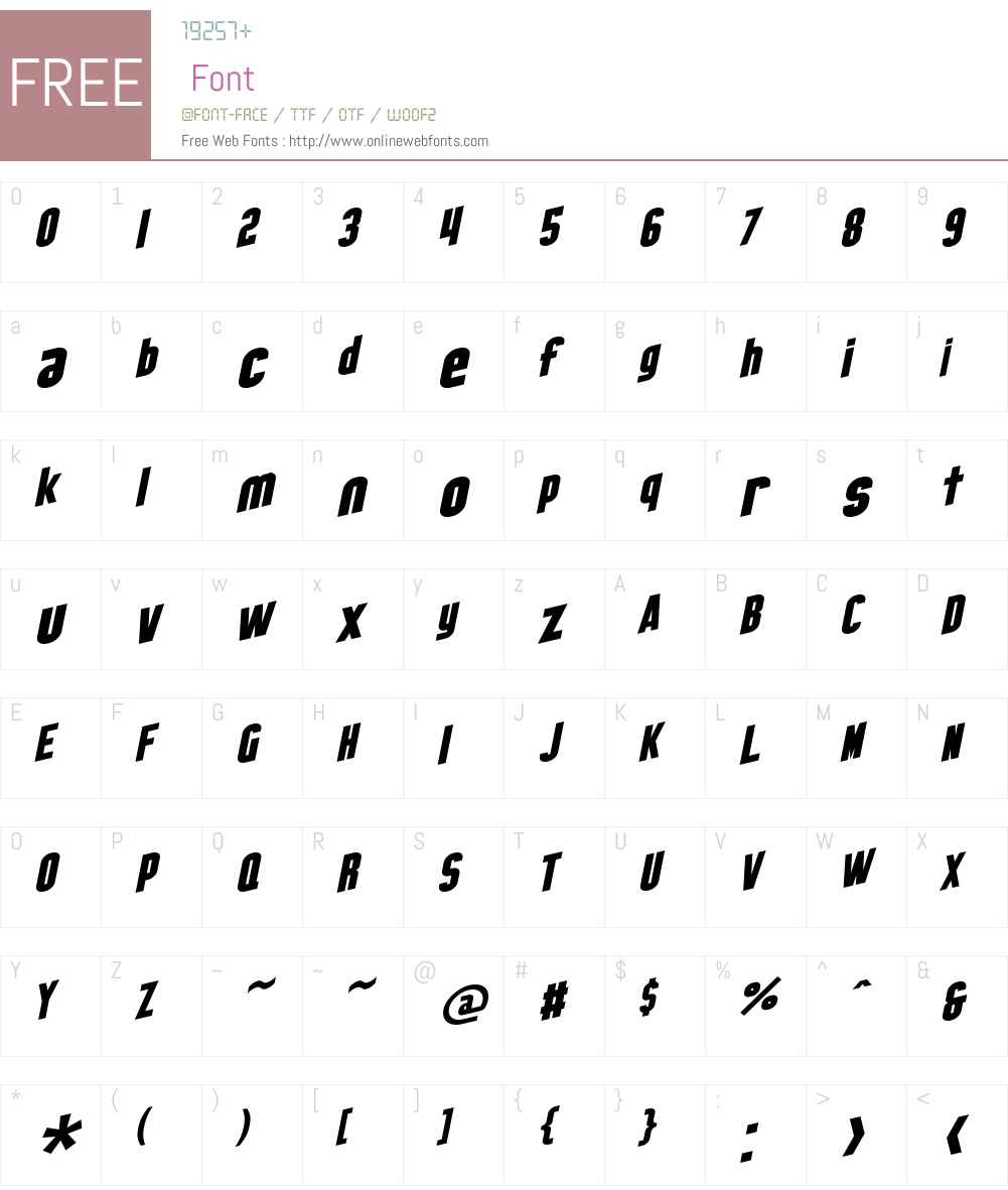 SF Obliquities Font Screenshots