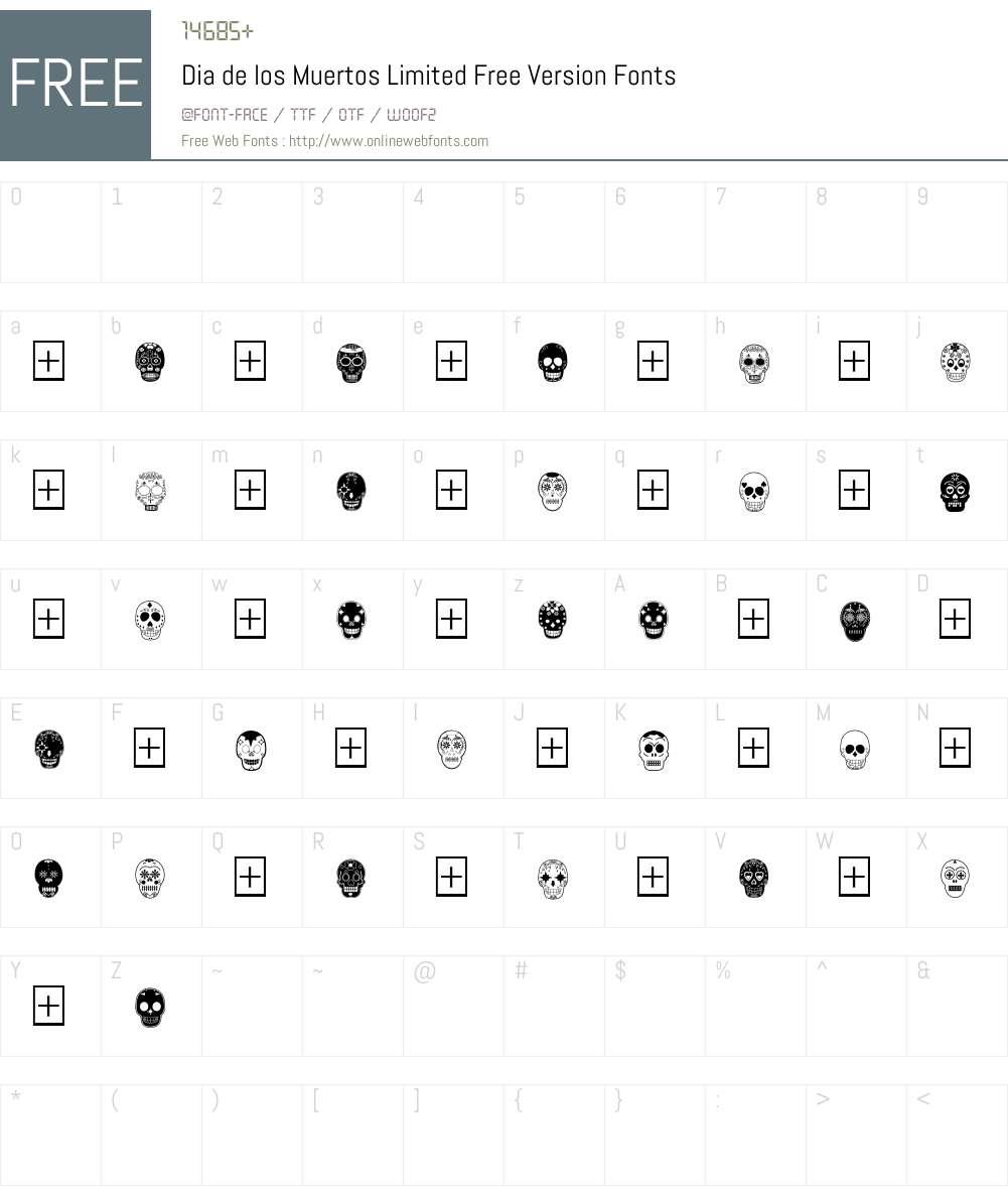 Dia de los Muertos Limited Free Version Font Screenshots