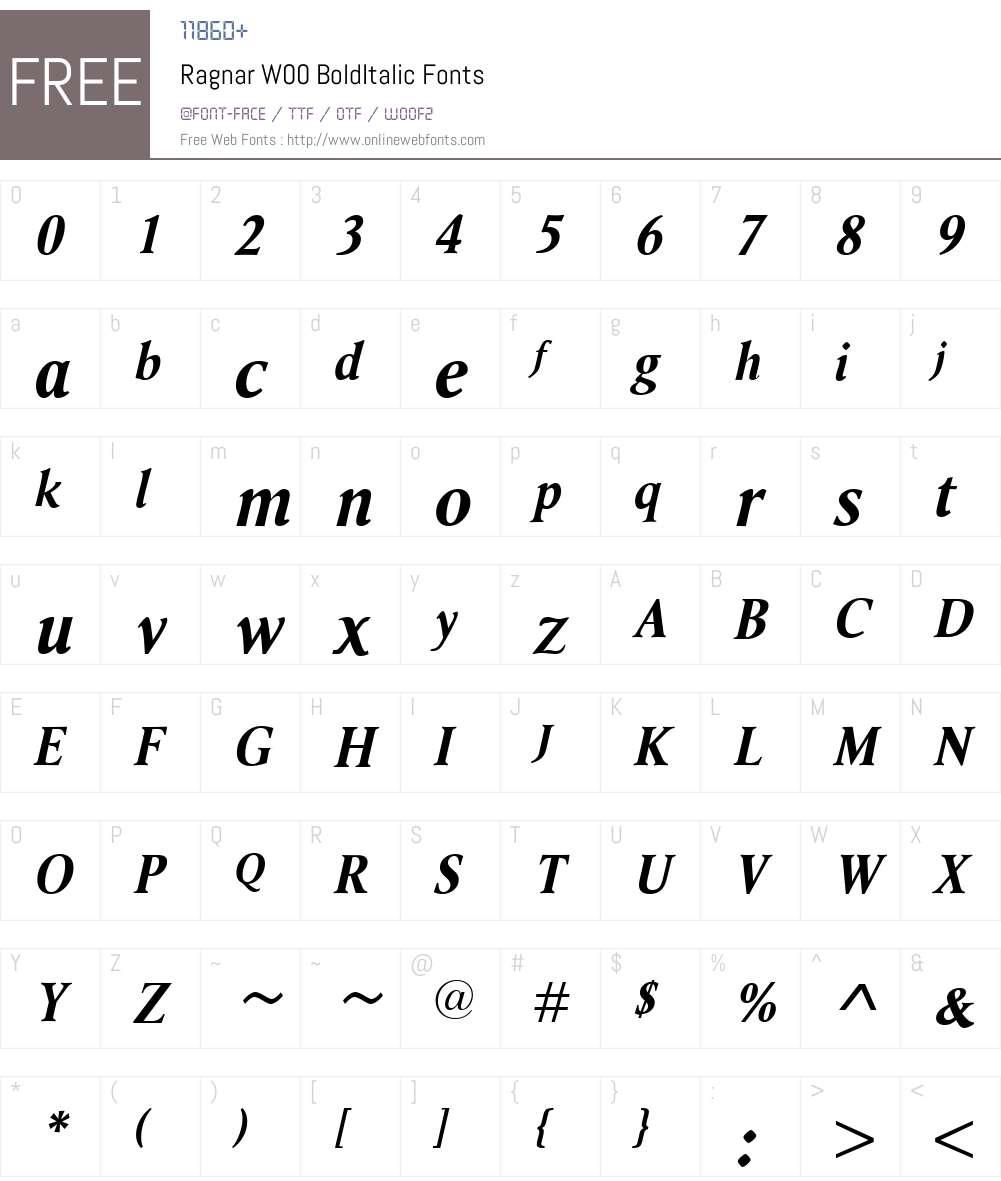 RagnarW00-BoldItalic Font Screenshots