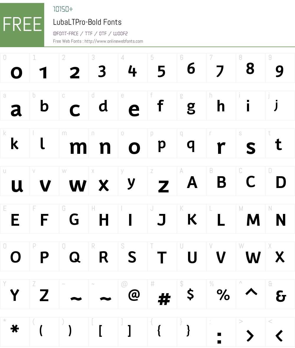 Luba LT Pro Font Screenshots