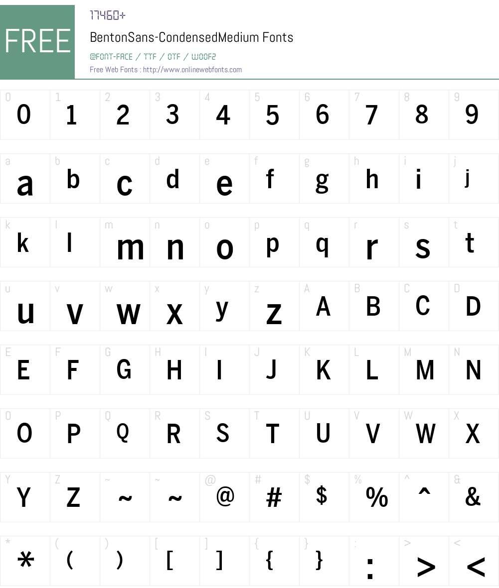 BentonSans-CondensedMedium Font Screenshots
