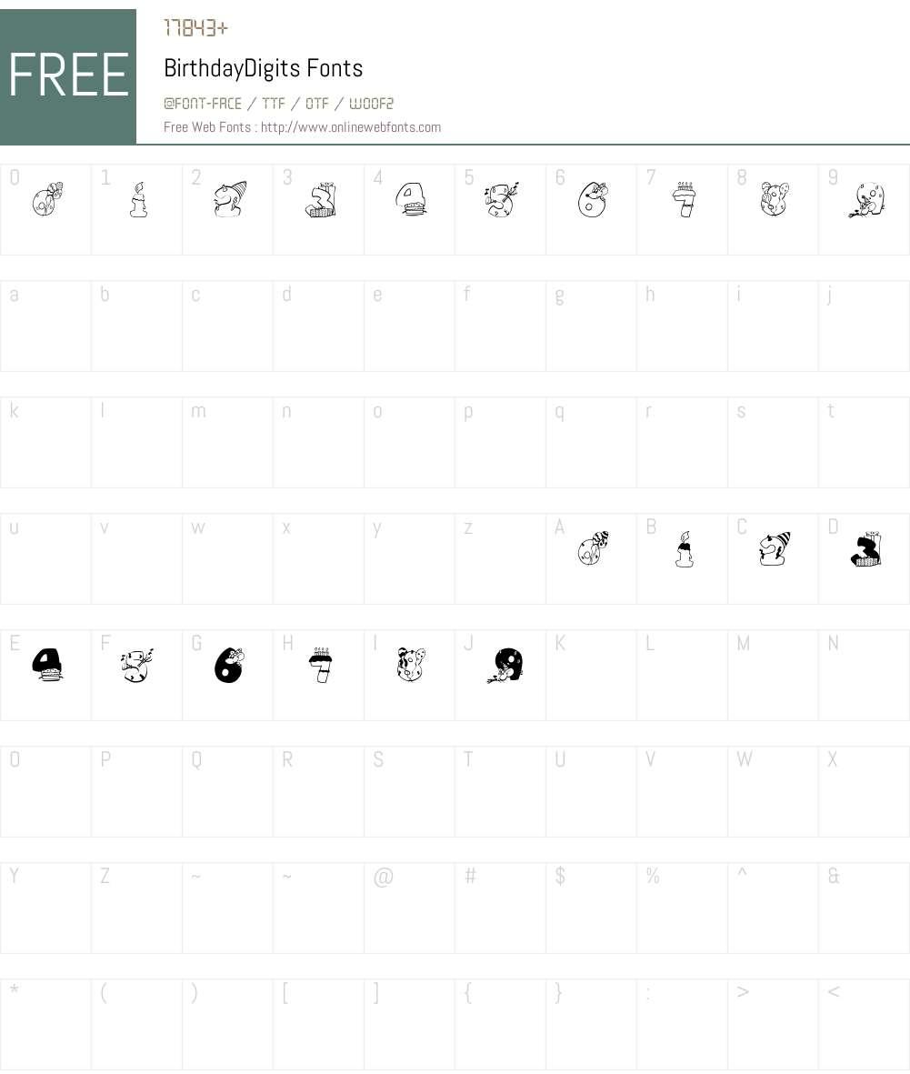 BirthdayDigits Font Screenshots
