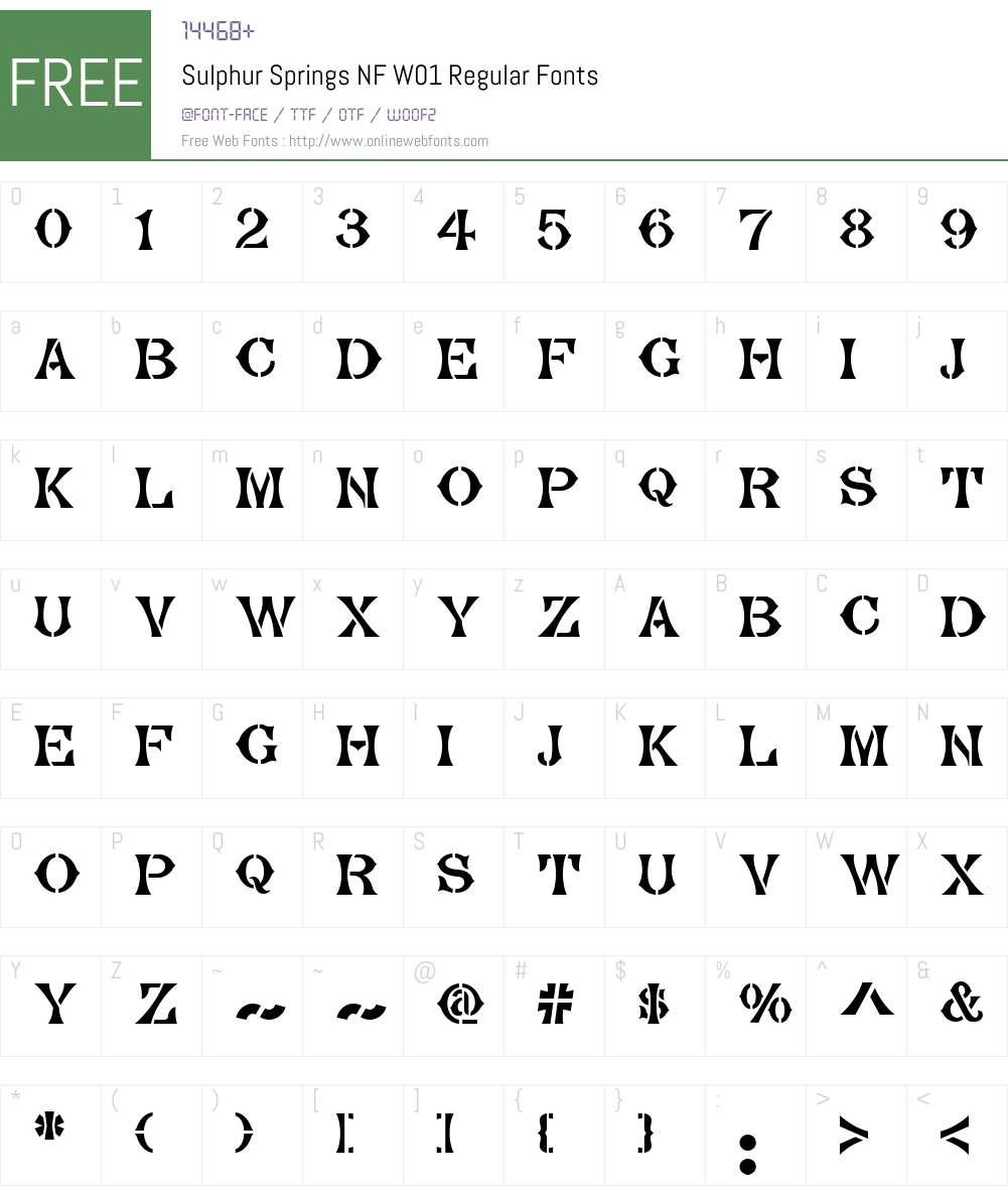 SulphurSpringsNFW01-Regular Font Screenshots